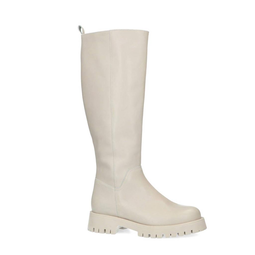 Manfield   hoge leren laarzen off white, Ecru/Off white
