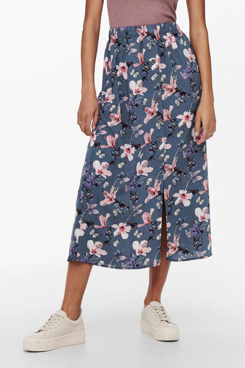 ONLY midi rok ONLNOVA  met all over print blauw, Blauw