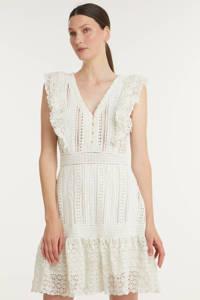 NIKKIE Selected By Kate Moss semi-transparante kanten A-lijn jurk Richella met ruches gebroken wit, Gebroken wit
