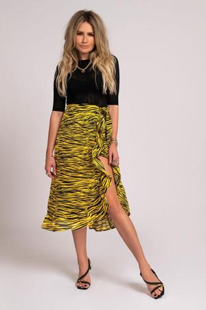 rok Roxy met dierenprint en ruches geel/ zwart