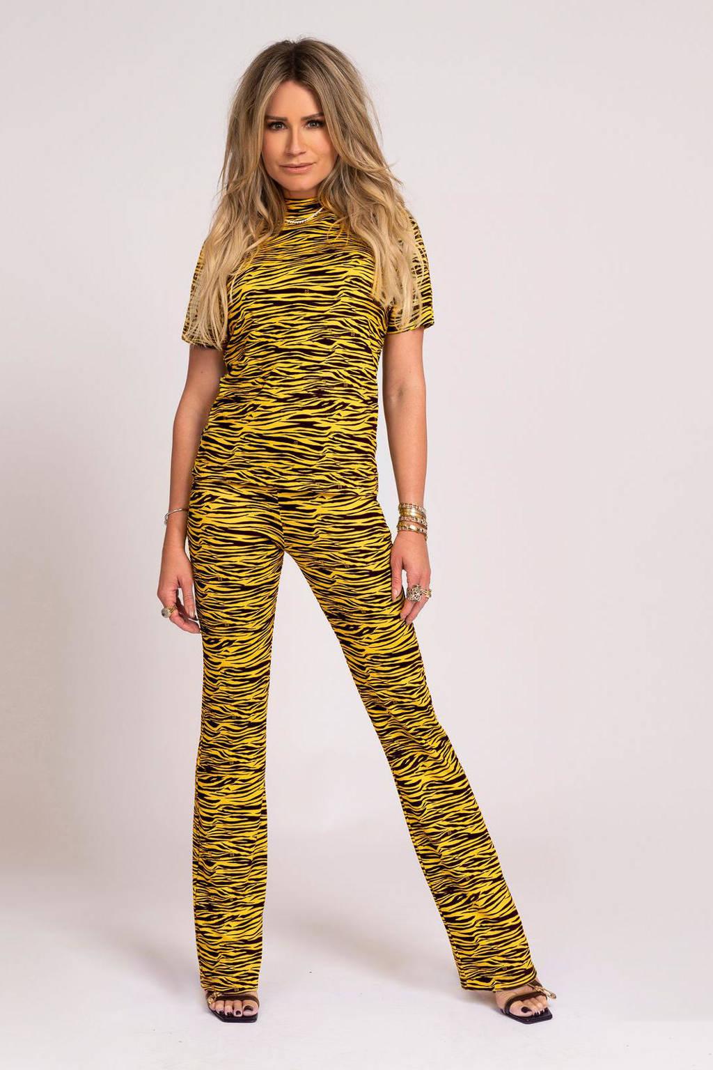 NIKKIE Selected By Kate Moss top Tiger met dierenprint geel/ zwart, Geel/ zwart
