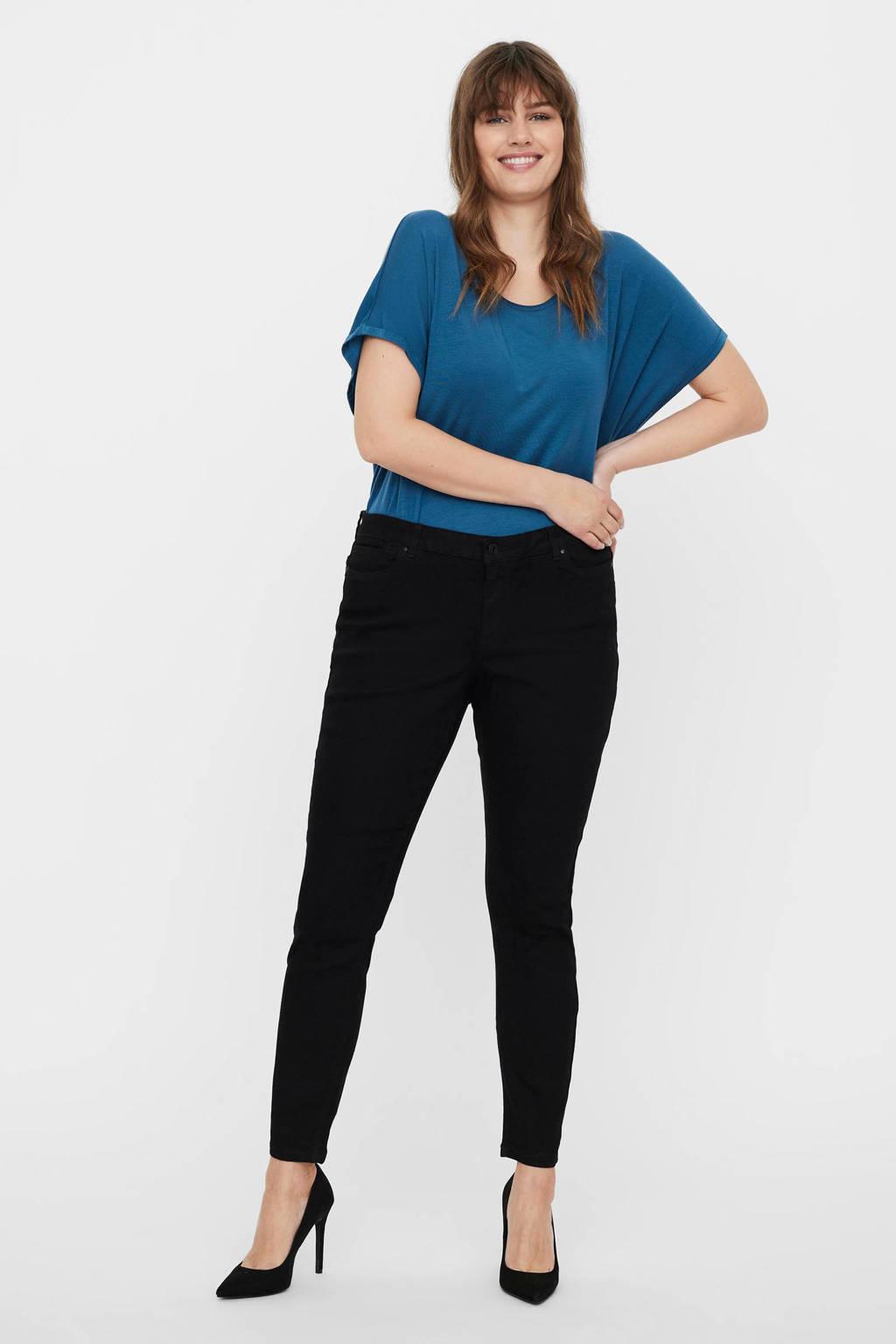 VERO MODA CURVE slim fit jeans VMLUDY  zwart, Zwart