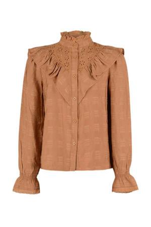 blouse Belle met ruches bruin