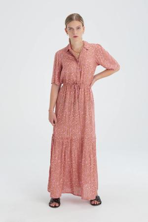 maxi jurk Bowie Great met all over print en volant roze/bruin