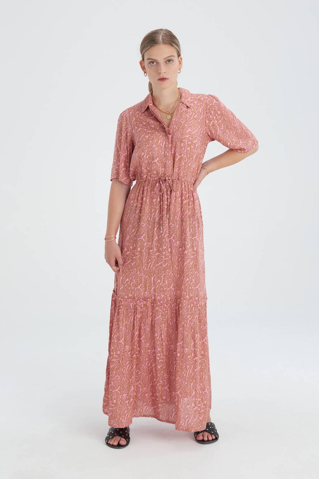 Shoeby Eksept maxi jurk Bowie Great met all over print en volant roze/bruin, Roze/bruin
