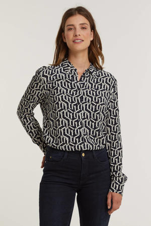 blouse met all over print donkerblauw