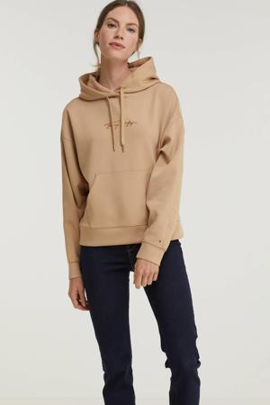 hoodie met logo beige