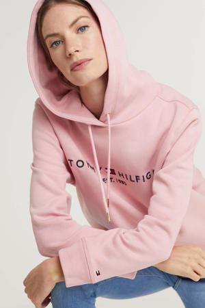 sweater Essential hoodie met logo roze