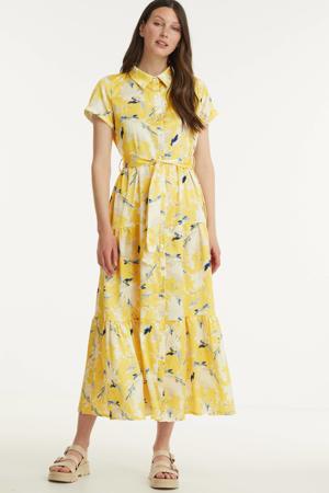 gebloemde maxi blousejurk geel