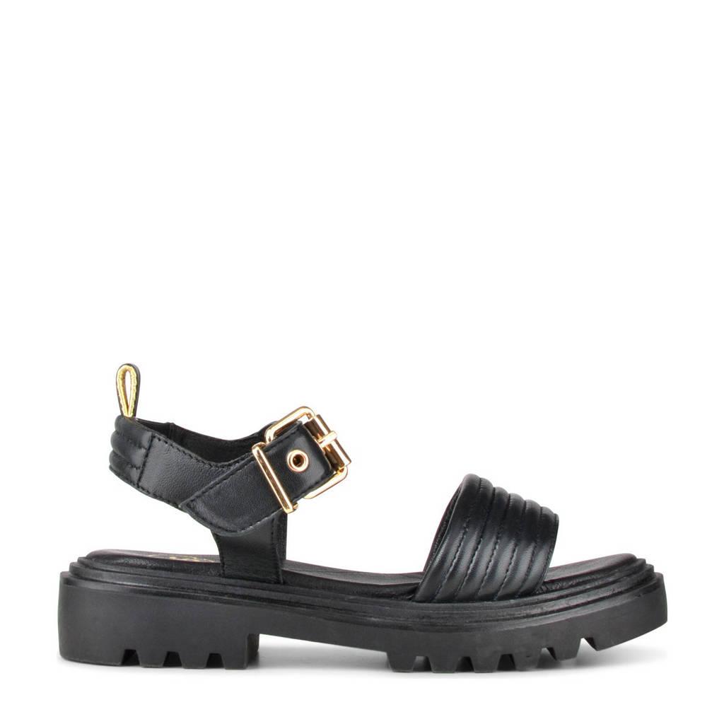 PS Poelman Saturno  leren sandalen zwart, Zwart