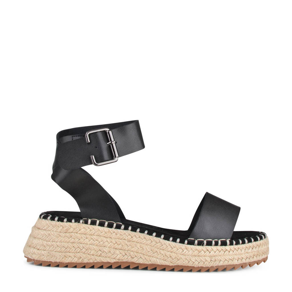 PS Poelman Tara  plateau sandalen zwart, Zwart