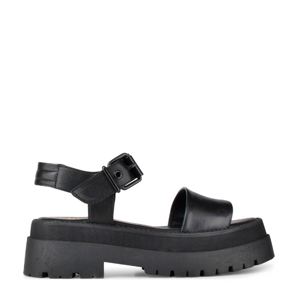 PS Poelman Korio  leren chunky sandalen zwart, Zwart