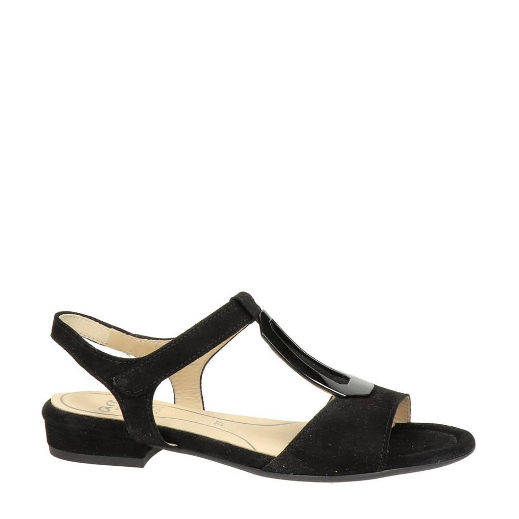 Ara Vegas  suède sandalen zwart, Zwart