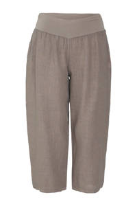 Paprika cropped straight fit broek taupe, Taupe