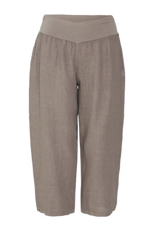 cropped straight fit broek taupe