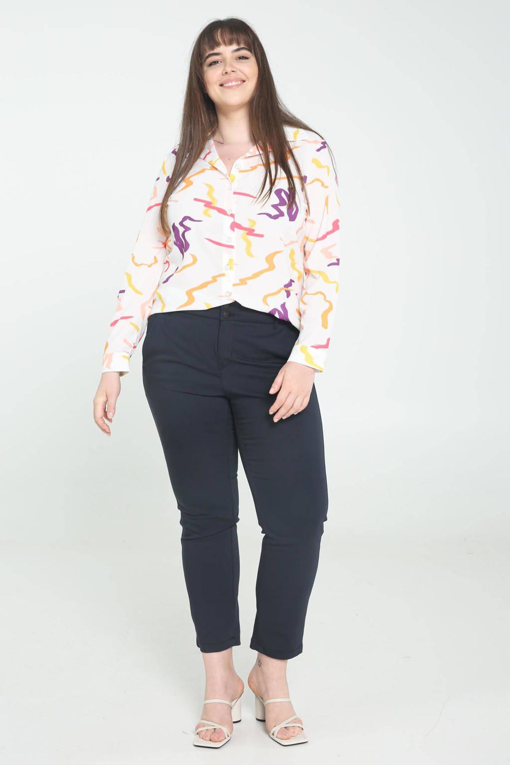 PROMISS blouse met all over print wit/paars/oranje, Wit/paars/oranje