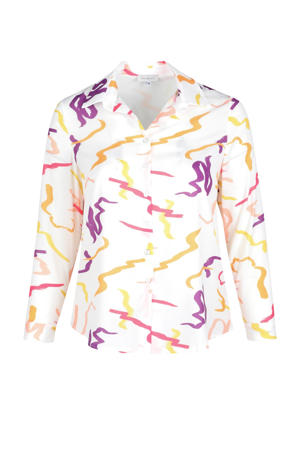 blouse met all over print wit/paars/oranje