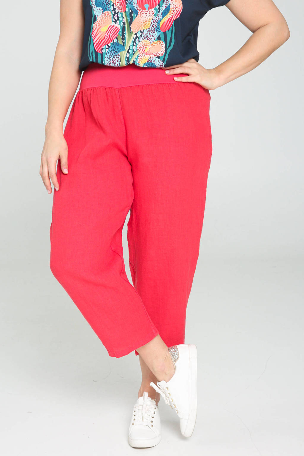 Paprika cropped straight fit broek rood, Rood