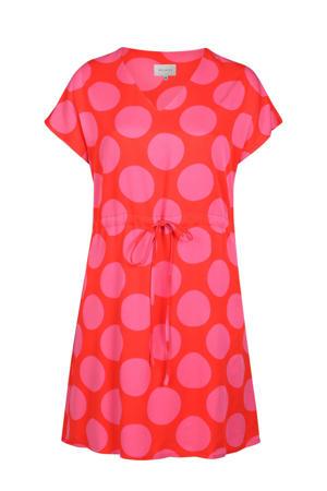 jurk met stippen rood/roze