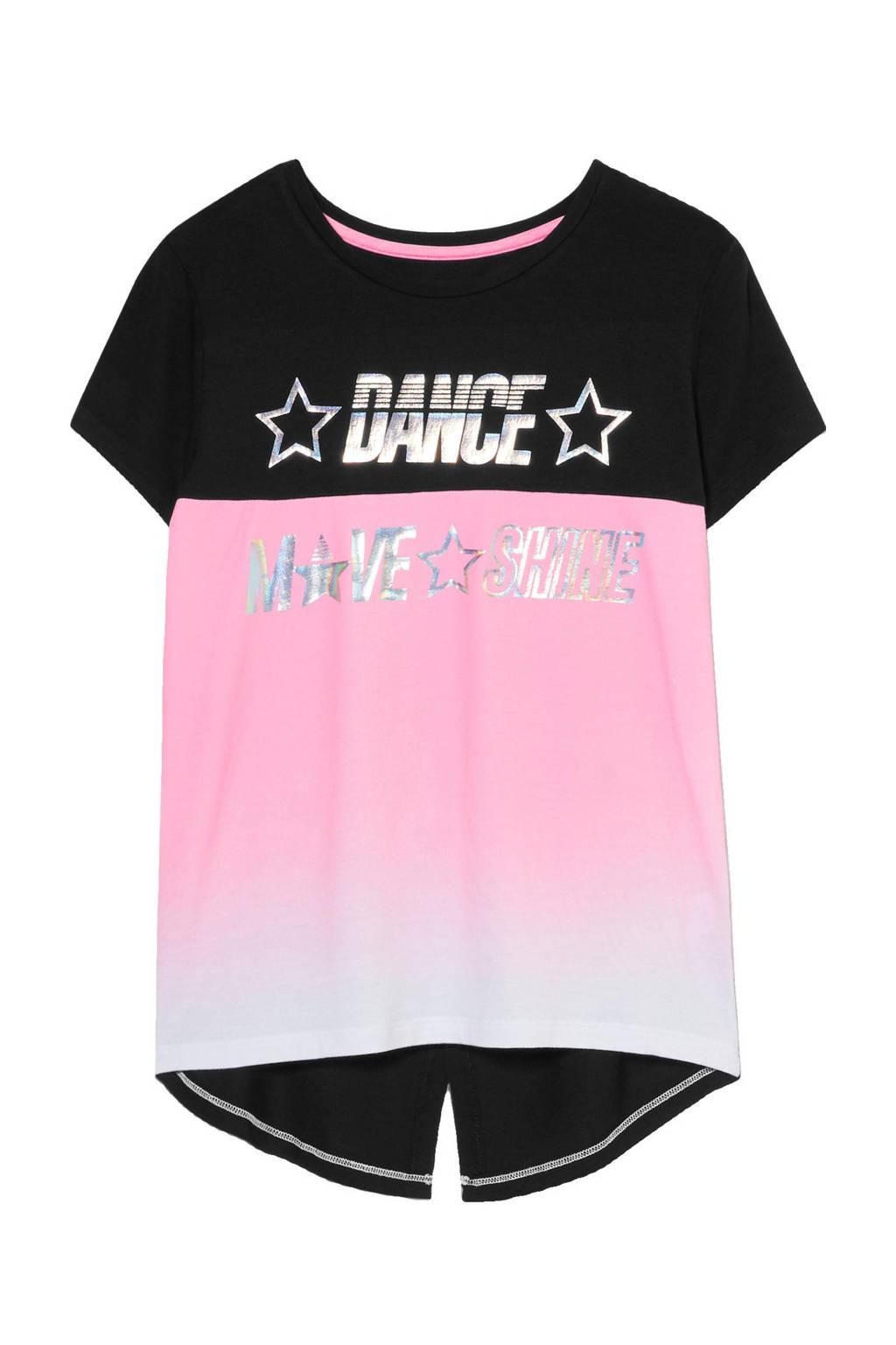 C&A Here & There T-shirt zwart/roze, Zwart/roze