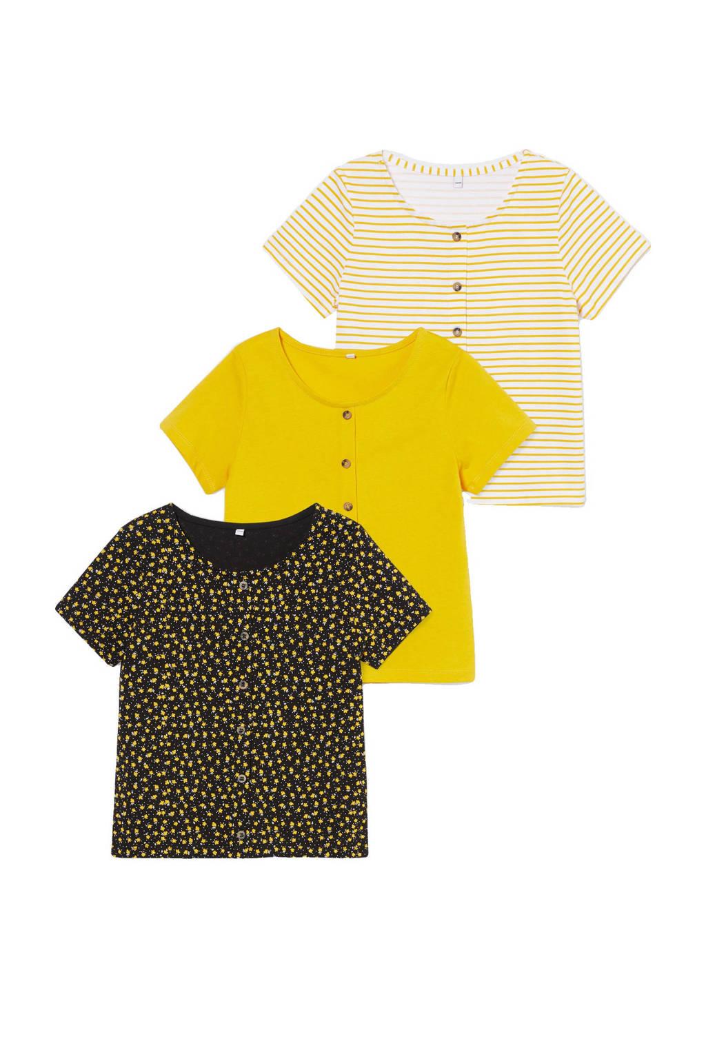 C&A Here & There T-shirt - set van 3 geel/zwart/wit, Geel/zwart/wit