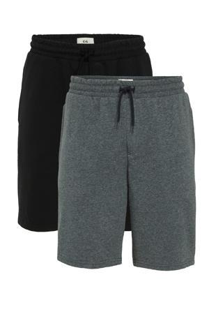 regular fit sweatshort zwart/grijsblauw - (set van 2)