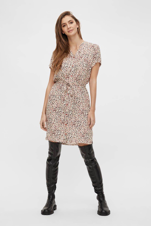 OBJECT A-lijn jurk OBJBIRDY met all over print en ceintuur ecru/multi, Ecru/multi