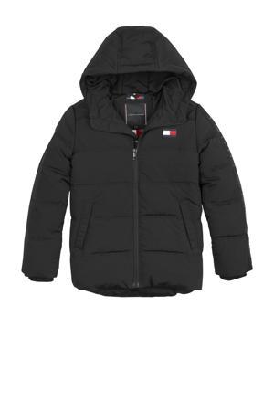 gewatteerde winterjas met logo zwart