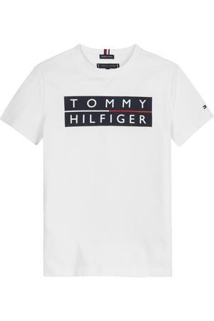 T-shirt van biologisch katoen wit/zwrat/rood