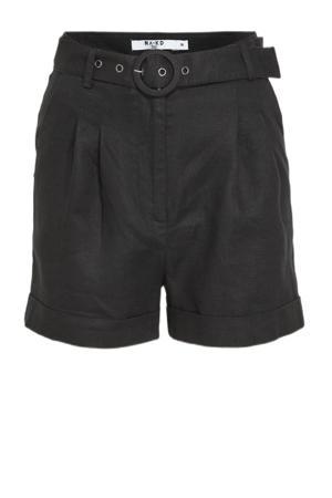 high waist loose fit short zwart