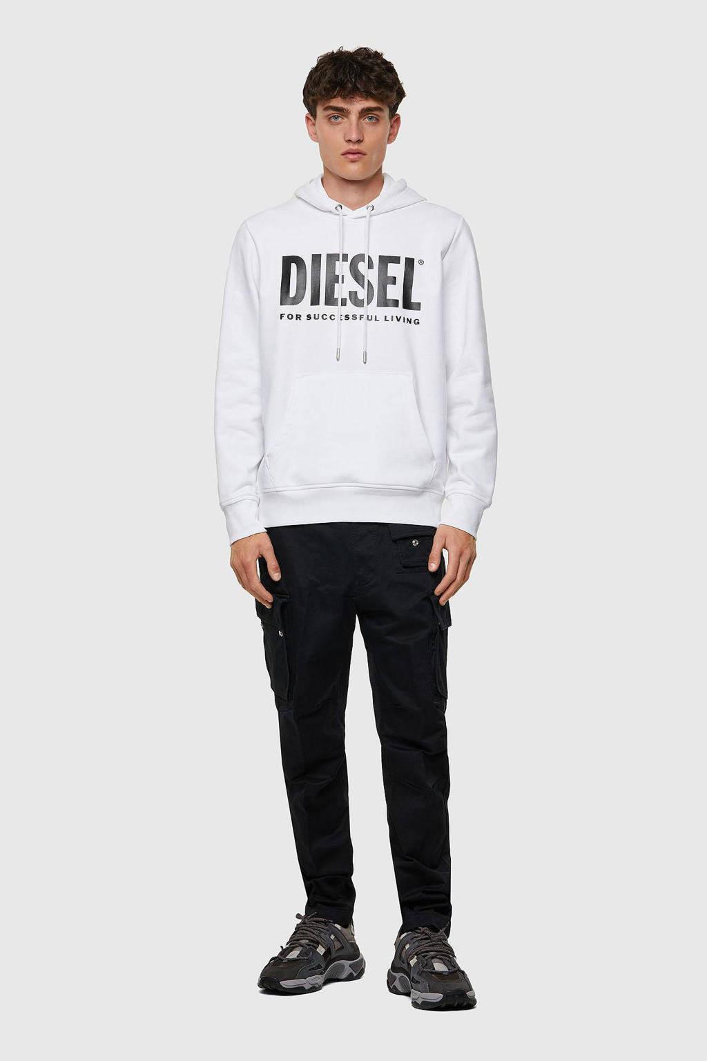 Diesel hoodie S-GIRK met logo 100 bright white, 100 Bright white