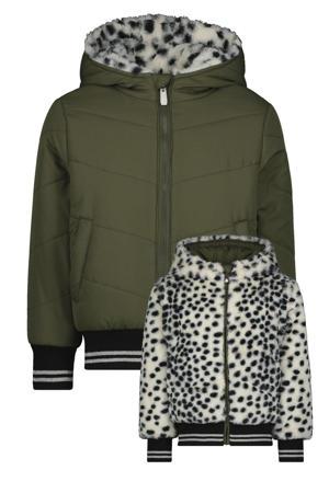 reversible gewatteerde imitatiebont winterjas Jenty met all over print beige/zwart/groen