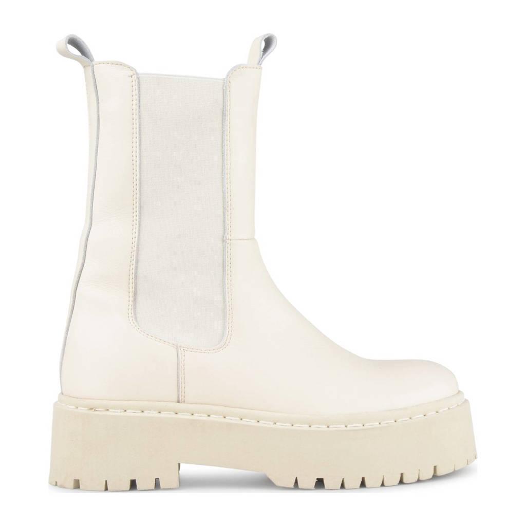 PS Poelman Kimmy  hoge leren chelsea boots off white, beige/off white