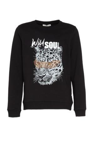 sweater MABATE met printopdruk zwart