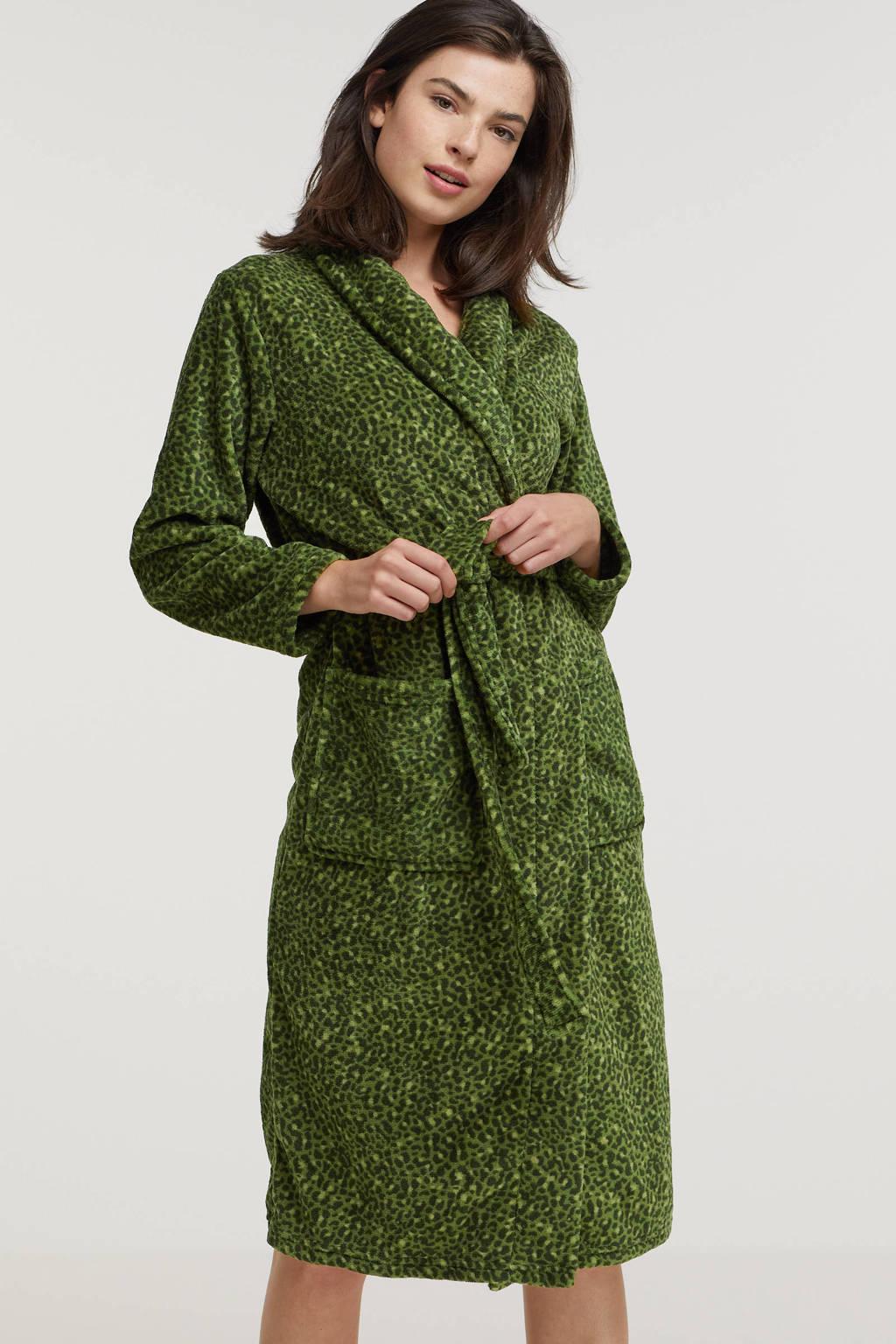 ten Cate fleece badjas met panterprint groen, Groen