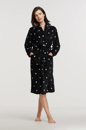 fleece badjas met stippen zwart/wit