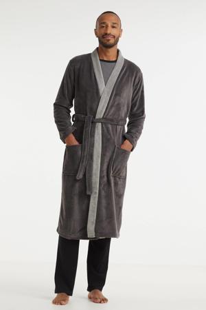 fleece badjas grijs/lichtgrijs