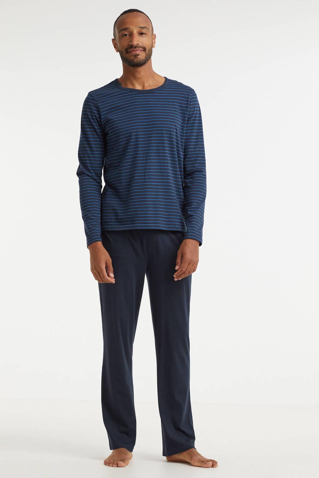 ten Cate pyjama met strepen donkerblauw, Donkerblauw