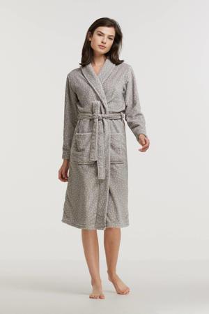fleece badjas met stippen grijs/wit