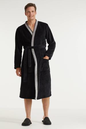 fleece badjas zwart/grijs
