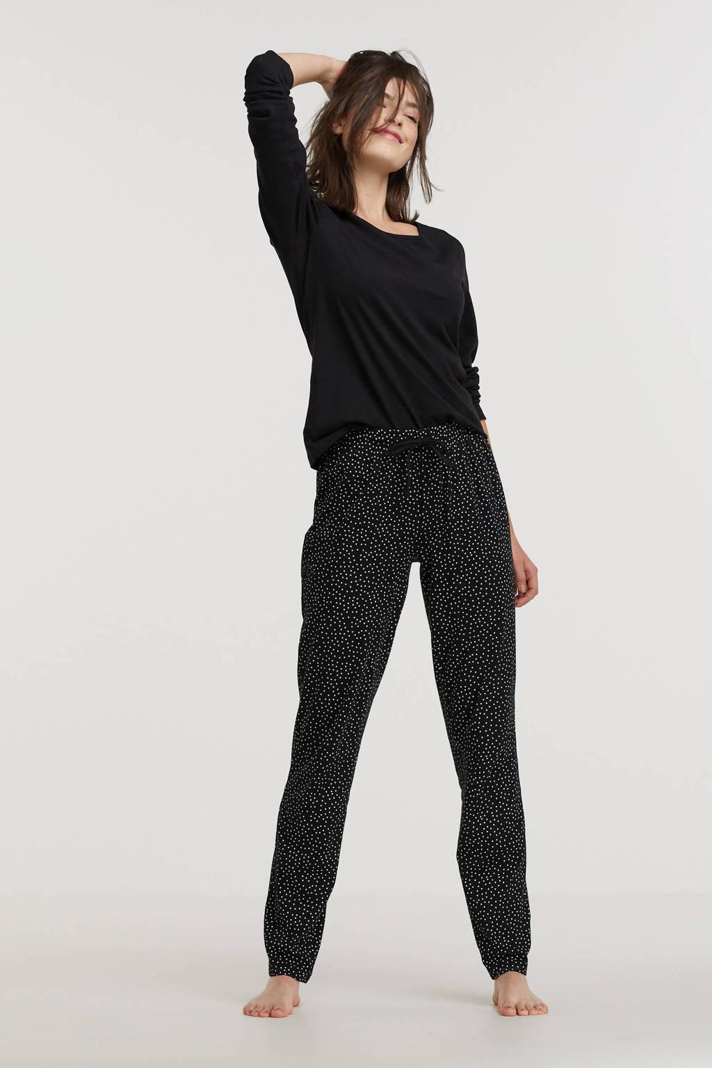 ten Cate pyjama met stippen zwart, Zwart