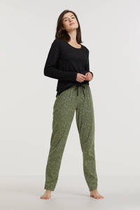 ten Cate pyjama met panterprint zwart/groen, Zwart/groen