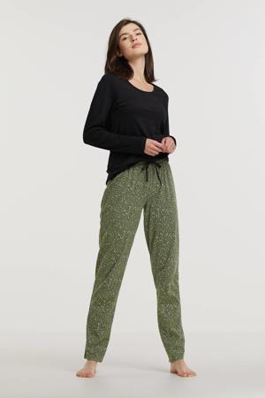 pyjama met panterprint zwart/groen