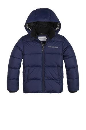 gewatteerde winterjas van gerecycled polyester donkerblauw
