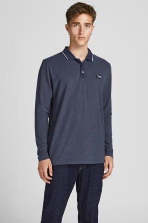 gemêleerde regular fit shirt met contrastbies donkerblauw