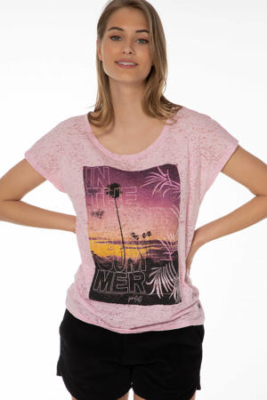 T-shirt Omodos lichtroze