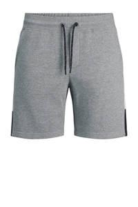 JACK & JONES JEANS INTELLIGENCE regular fit sweatshort Logo Blocking met zijstreep grijs melange, Grijs melange