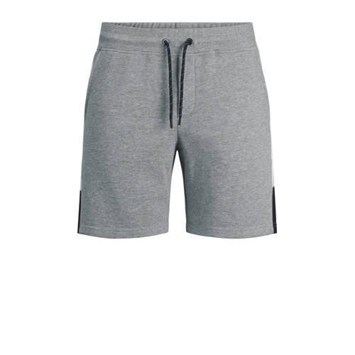 JACK & JONES JEANS INTELLIGENCE regular fit sweatshort Logo Blocking met zijstreep grijs melange