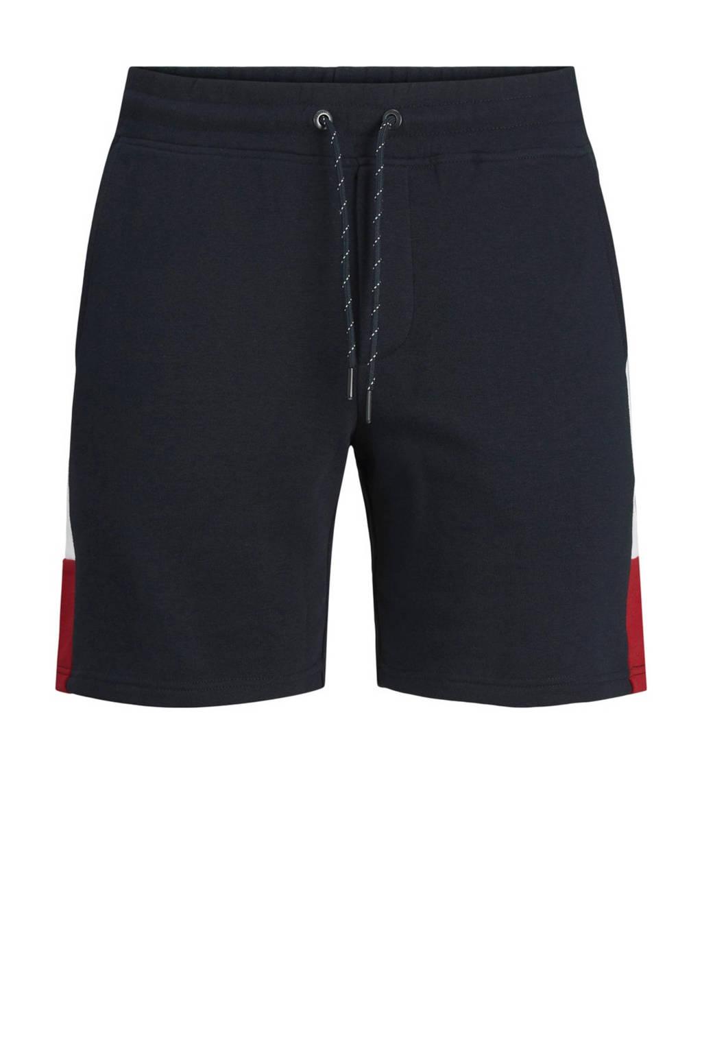JACK & JONES JEANS INTELLIGENCE regular fit sweatshort Logo Blocking met zijstreep donkerblauw, Donkerblauw