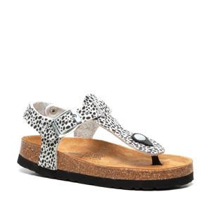 sandalen met dierenprint wit/zwart